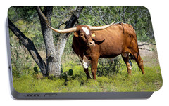 Portable Battery Charger featuring the photograph Texas Longhorn Steer by David Morefield
