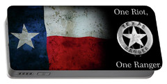 Texas Rangers Motto - One Riot, One Ranger  2 Portable Battery Charger by Daniel Hagerman