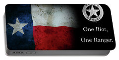 Texas Rangers Motto - One Riot, One Ranger Portable Battery Charger by Daniel Hagerman