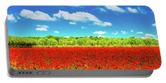 Texas Red Poppies Portable Battery Charger by Darryl Dalton