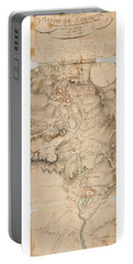 Portable Battery Charger featuring the drawing Texas Revolution Santa Anna 1835 Map For The Battle Of San Jacinto With Border by Peter Gumaer Ogden