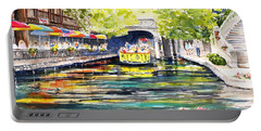 Portable Battery Charger featuring the painting Texas San Antonio River Walk by Carlin Blahnik CarlinArtWatercolor