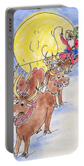 Portable Battery Charger featuring the pastel Texas Santa by Vonda Lawson-Rosa