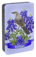 Texas State Mockingbird And Bluebonnet Flower Portable Battery Charger by Crista Forest
