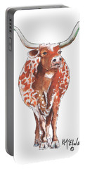 Texas Longhorn Taking The Lead Watercolor Painting By Kmcelwaine Portable Battery Charger