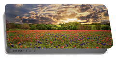 Texas Wildflowers Under Sunset Skies Portable Battery Charger