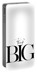 Portable Battery Charger featuring the digital art Text Art Think Big by Melanie Viola