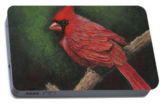 Portable Battery Charger featuring the painting Textured Cardinal by Janet King