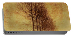 Portable Battery Charger featuring the mixed media Textured Eerie Trees by Dan Sproul