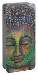Textured Green Buddha Portable Battery Charger by Prerna Poojara