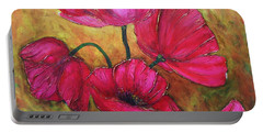 Portable Battery Charger featuring the painting Textured Poppies by Chris Hobel