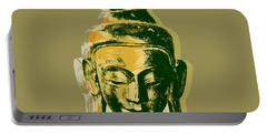 Portable Battery Charger featuring the digital art Thai Buddha #4 Pop Art Warhol Style Print.  by Jean luc Comperat