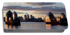 Thames Barrier And Seagulls Portable Battery Charger