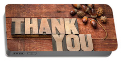 Than You Typography In Wood Type Portable Battery Charger