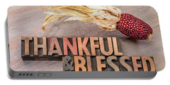thankful and blessed - Thanksgiving theme Portable Battery Charger