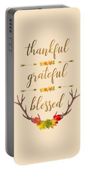 Portable Battery Charger featuring the digital art Thankful Grateful Blessed Fall Leaves Antlers by Georgeta Blanaru