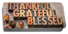 thankful, grateful, blessed - Thanksgiving theme Portable Battery Charger