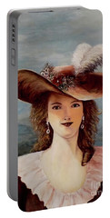 Portable Battery Charger featuring the painting That Feather In Her Hat by Judy Kirouac