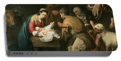 The Adoration Of The Shepherds Portable Battery Charger by Bartolome Esteban Murillo