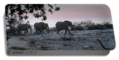 Portable Battery Charger featuring the digital art The African Elephants by Ernie Echols