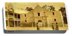 Portable Battery Charger featuring the photograph The Alamo San Antonio Texas Circa 1880 Albumen Photograph by Peter Gumaer Ogden