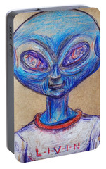 Portable Battery Charger featuring the drawing The Alien Is L-i-v-i-n by Similar Alien