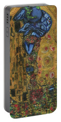 Portable Battery Charger featuring the painting The Alien Kiss By Blastoff Klimt by Similar Alien