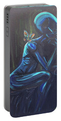 Portable Battery Charger featuring the painting The Alien Thinker by Similar Alien