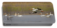 The American White Pelicans Portable Battery Charger by Ernie Echols
