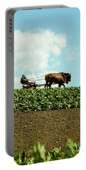 The Amish Farmer With Horses In Tobacco Field Portable Battery Charger