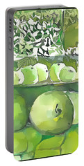 Portable Battery Charger featuring the painting The Apple Closet by Mindy Newman