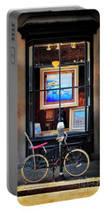 Portable Battery Charger featuring the photograph The Art Gallery Bicycle by Craig J Satterlee