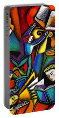Portable Battery Charger featuring the painting The Art Of Learning by Leon Zernitsky