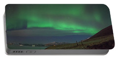 The Aurora Borealis Over Iceland Portable Battery Charger