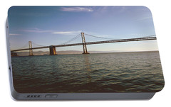 Portable Battery Charger featuring the mixed media The Bay Bridge- By Linda Woods by Linda Woods