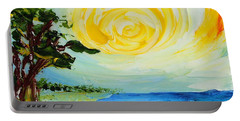 Portable Battery Charger featuring the painting The Beach by Teresa Wegrzyn