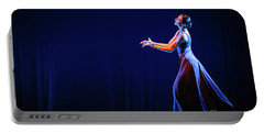 Portable Battery Charger featuring the photograph The Beautiful Ballerina Dancing In Blue Long Dress by Dimitar Hristov