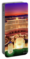 The Bellagio Fountains After Sunset Portrait Portable Battery Charger