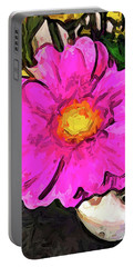 The Big Pink And Yellow Flower In The Little Vase Portable Battery Charger