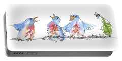 The Birds And The Bee Bird Art Watercolor Painting By Kmcelwaine Portable Battery Charger