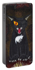 Portable Battery Charger featuring the painting The Black Cat Edgar Allan Poe by Carrie Hawks