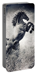 The Black Stallion Arabian Horse Reared Up Portable Battery Charger