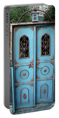 Portable Battery Charger featuring the photograph The Blue And Gold Door Of Jerusalem by Yoel Koskas