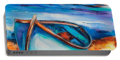 Portable Battery Charger featuring the painting The Blue Boat by Elise Palmigiani