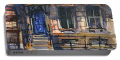 The Blue Door, New York Portable Battery Charger by Kristina Vardazaryan