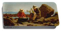 Portable Battery Charger featuring the painting The Boat Builders - 1873 by Winslow Homer