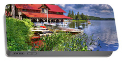 Portable Battery Charger featuring the photograph The Boathouse At Covewood by David Patterson