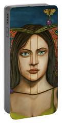 The Book Of Secrets With Paisley Portable Battery Charger by Leah Saulnier The Painting Maniac