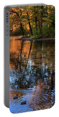 The Bright Colors Of Autumn, Quiet Evenings Are Reflected In The Waters Of The City Pond Portable Battery Charger
