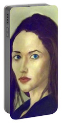 The Brunette With Blue Eyes Portable Battery Charger